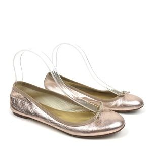 J. Crew rose gold leather ballet flats metallic
